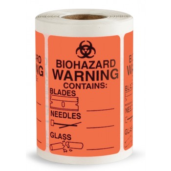 Biohazard Labels - Contents Warning Contains Sharps