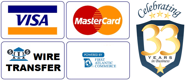 ASSL Store Payment Options: Visa, Mastercard, Wire Transfer. Powered by First Atlantic Commerce